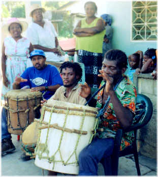 Garifuna drummers, Trujillo, Honduras.